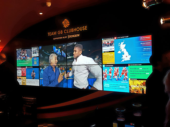 Team GB Clubhouse Strongbow Live Feed Wall