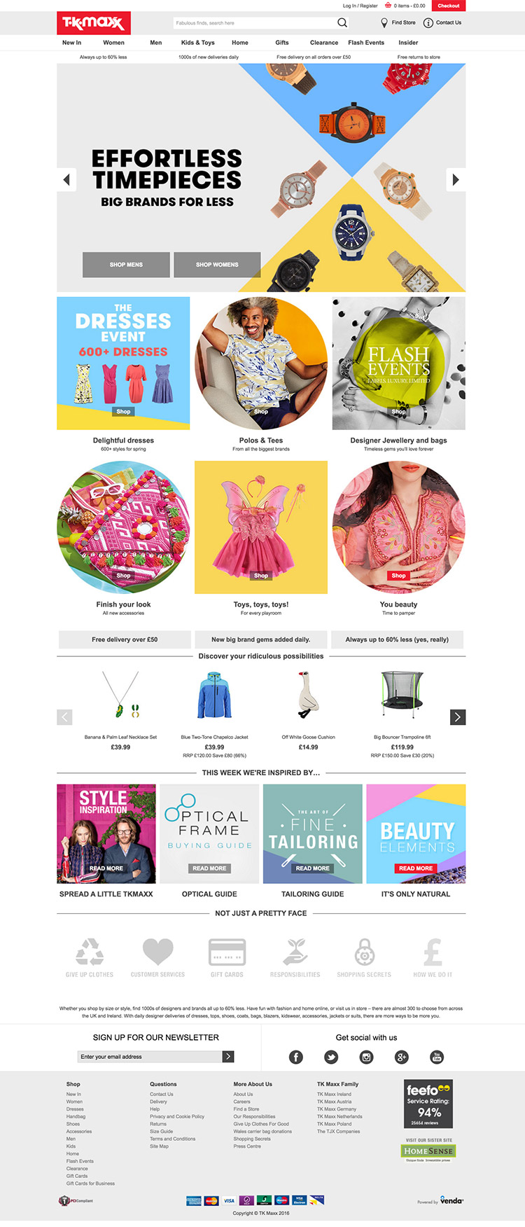 TK Maxx Homepage Design